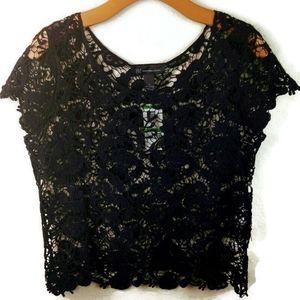 I.N.C. Concepts Black Crochet Capped Sleeve Top